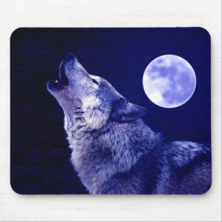 Lobo que grita en la luna tapetes de ratones