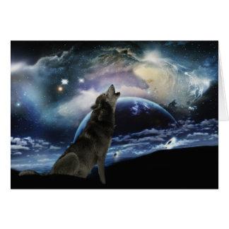Lobo que grita en la luna felicitacion