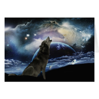 Lobo que grita en la luna tarjeta de felicitación