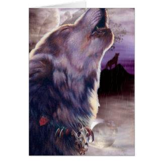 Lobo que grita en la luna tarjeta pequeña