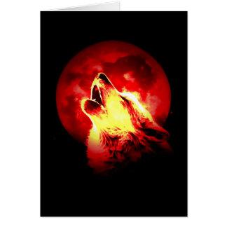 Lobo que grita en la noche roja tarjetas
