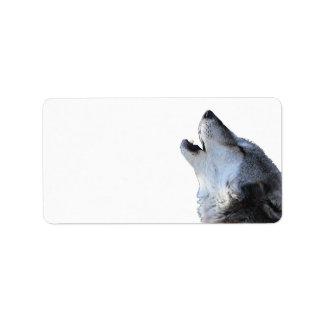 lobo que grita etiqueta de dirección