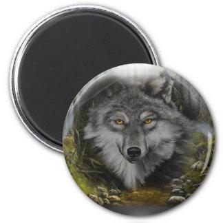 Lobo que mezcla en la pintura del río imán
