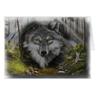 Lobo que mezcla en la pintura del río tarjeta de felicitación