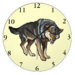 lobo reloj redondo grande