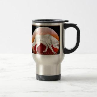 Lobo rojo CupsP de la luna Taza De Café