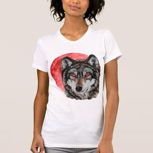 Lobo rojo de la luna playeras