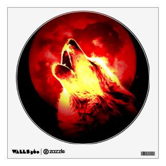 Lobo rojo de la noche que grita en la luna vinilo decorativo