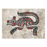 Lobo rojo y negro agrietado del alcohol del Haida Comunicado
