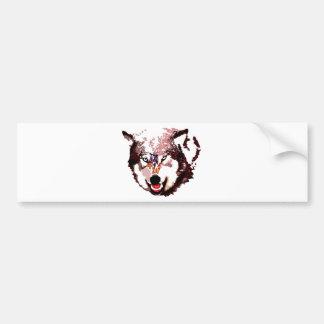 Lobo salvaje etiqueta de parachoque