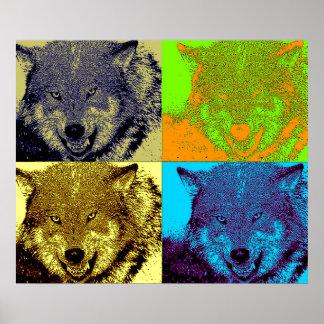 Lobo salvaje del arte pop en la impresión del