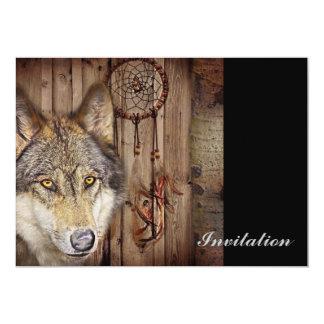 lobo salvaje del colector ideal indio nativo invitación 12,7 x 17,8 cm