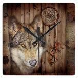 lobo salvaje del colector ideal indio nativo rústi reloj cuadrado