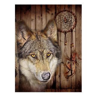lobo salvaje del colector ideal indio nativo rústi tarjeta postal