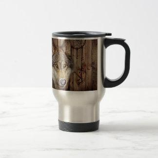 lobo salvaje del colector ideal indio nativo taza de viaje de acero inoxidable