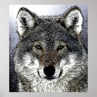 Lobo salvaje en la impresión del poster de las