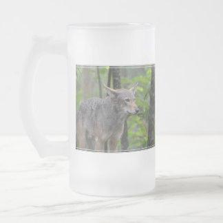 Lobo salvaje taza cristal mate