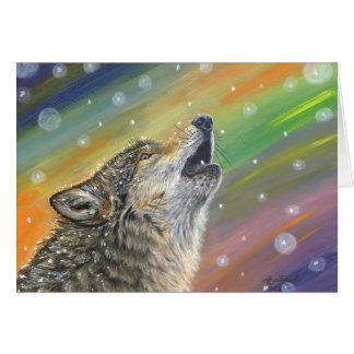 Lobo sitiado por la nieve del grito en el arte de  tarjeta de felicitación