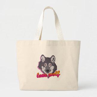 ¡Lobo solitario, estilo de los años 80! Bolsa Tela Grande