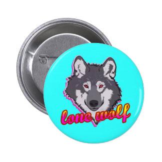 ¡Lobo solitario, estilo de los años 80! Pin Redondo De 2 Pulgadas