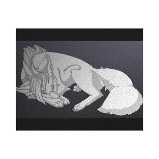 Lobo solitario lienzo envuelto para galerias