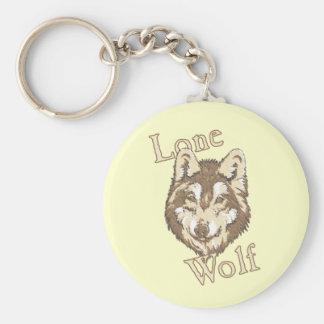 Lobo solitario llavero redondo tipo pin
