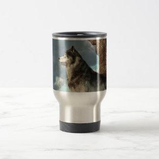 Lobo solitario taza de viaje