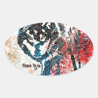 Lobo solitario - una original de Brown observa Pegatina Ovalada