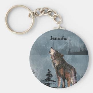 Lobo solo conocido de encargo que grita a través llavero redondo tipo pin