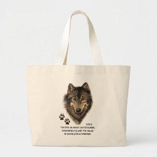 Lobo, tótem animal de los lobos, guía de la natura bolsa de mano