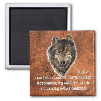 Lobo, tótem animal de los lobos, guía de la natura imán cuadrado