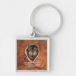 Lobo, tótem animal de los lobos, guía de la natura llavero cuadrado plateado