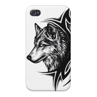 Lobo tribal iPhone 4/4S carcasas