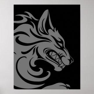 Lobo tribal gris y negro agresivo póster