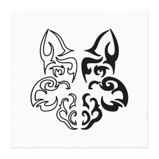 Lobo tribal impresión en lona estirada