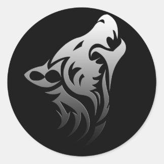 Lobo tribal pegatina redonda