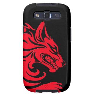 Lobo tribal rojo y negro agresivo samsung galaxy SIII funda