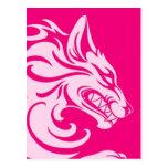 Lobo tribal rosado agresivo tarjetas postales