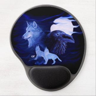 Lobo y cuervo con la Luna Llena Alfombrilla De Raton Con Gel