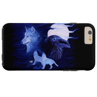 Lobo y cuervo con la Luna Llena Funda De iPhone 6 Plus Tough