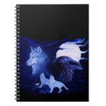 Lobo y cuervo con la Luna Llena Libro De Apuntes Con Espiral