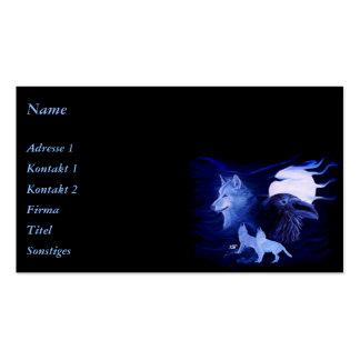 Lobo y cuervo con la Luna Llena Plantillas De Tarjeta De Negocio