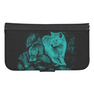 Lobo y cuervo en la noche fundas tipo billetera para galaxy s4