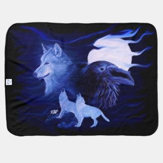 Lobo y cuervo en la noche mantitas para bebé