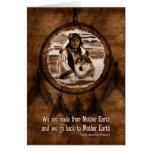 Lobo y Dreamcatcher del día del nativo americano Felicitacion