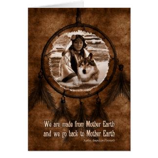 Lobo y Dreamcatcher del día del nativo americano Tarjeta De Felicitación