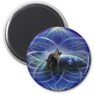 Lobo y el dreamcatcher imán redondo 5 cm