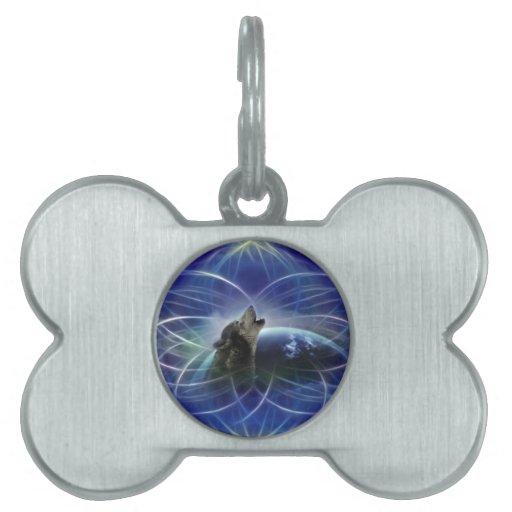 Lobo y el dreamcatcher placa de nombre de mascota