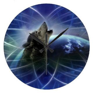 Lobo y el dreamcatcher reloj redondo grande