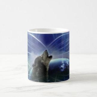 Lobo y el dreamcatcher taza básica blanca
